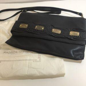 Madison Harding black leather crossbody clutch new